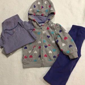 Carter's baby girl 3 piece fleece onesie set 12M
